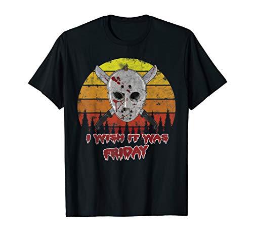 Kostüm Jason's Freundin - Halloween Jason Kostüm Retro Vintage Eichockeymaske  T-Shirt