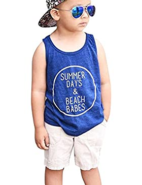Covermason Niño Carta Impresión Chaleco Camiseta y Corto Pantalones(1 Conjunto)