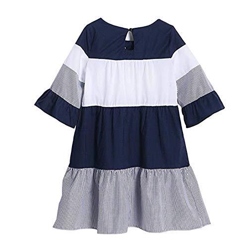 78fd2233d douleway PopReal Mommy Me Stripes Color Bloque de Manga de Trompeta Vestido  a Juego Azul
