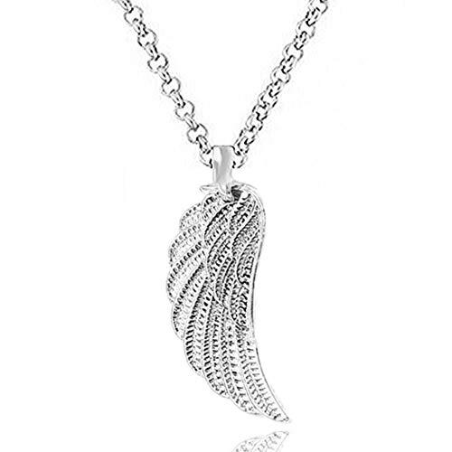 Engelsflügel Kette Schutzengel Feder flügel ohne Zirkonia Strass Lange Kette 70 cm mit Anhänger Set Halsketten für Damen Akki Silber