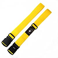 Lemmikki 2Pcs Adjustable Cross Strong Nylon Lock luggage strap (yellow*2)