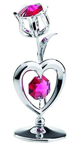 Tulipano cuore in miniatura–color argento–crystocraft perle di swarovski®–regalo oggetto di decorazione