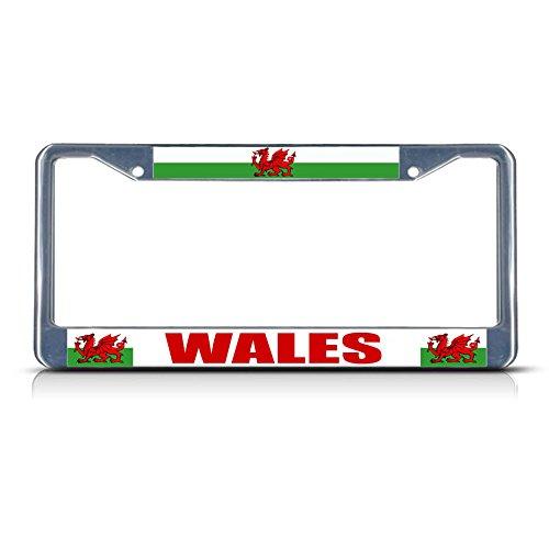 Bandera de Gales Rojo Dragón Gales País Cromo Estudio Metal Placa Marco Hombres Mujeres Coche Decoración