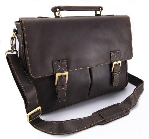 Visconti Hunter - Messenger Bag - A4 Laptop-Tasche - Arbeitstasche - geöltes Antik-Leder - Hellbraun - # 18716 Schlamm