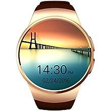 VOSMEP Reloj Inteligente del Negocio con Bluetooth 4.0 Smart Watch Muñeca Inteligente Pulsera Podómetro Deporte Monitor de Pulso Cardiaco con Pantalla Táctil Cámara para Apple/iOS, Samsung /Android, HTC LG Huawei Xiaomi soporte SMI/TF Teléfonos Inteligentes (Marrón)