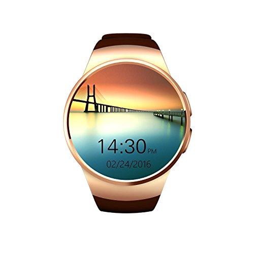 VOSMEP affari intelligente Watch Phone con Bluetooth 4.0 di Smart Orologio Wrap Telefono Sport Bracciale cardiofrequenzimetro con lo schermo fotocamera touch per Apple / iOS, Samsung / Android, HTC, supporta SMI / TF Smartphone (Marrone) SM028