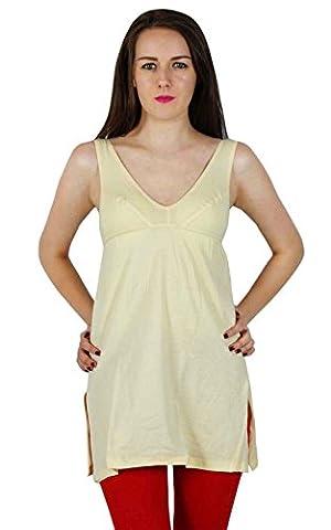 Coton Femmes manches Camisole Slip Tank Top Cami Undershirt- Beige