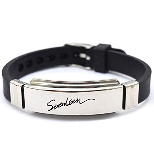 Christ For Givek K-Pop BTS Bangtan Jungen Exo Schwarz-Rosa GOT7 Seventeen Edelstahl Silikon-Armband Armband Hot Geschenk für a. R.M - H12