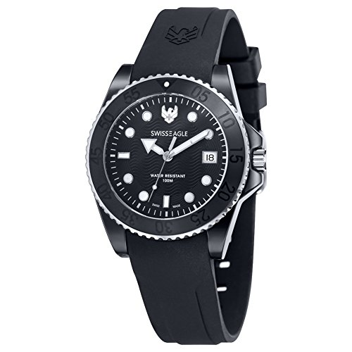 Swiss Eagle - SE-9052-33 - Glacier - Men's Quartz Analogue Watch - Black Dial - Black Silicone Strap