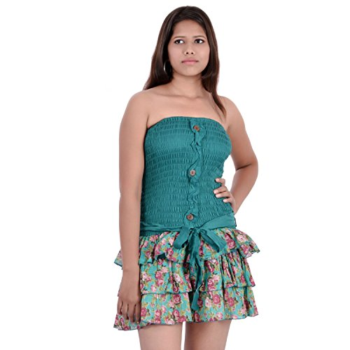 Indi Bargain Cotton Printed Mini Beachwear Shirred Waist Dresses - (IBLS016G)