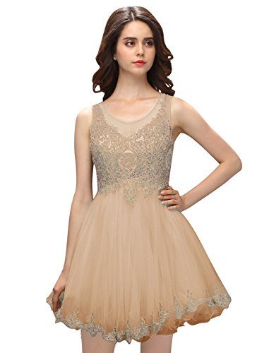 Dressystar Robe femme, Robe de bal courte Sans manches,appliques perlées, à fleur en Tulle Champagne