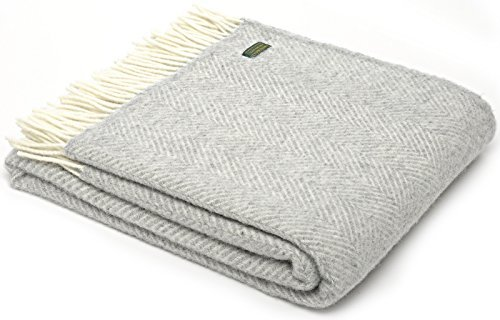 Herringbone pure new wool blanket throw - Silver grey by Tweedmill (New Herringbone)