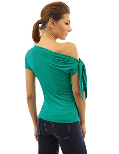 PattyBoutik Damen one shoulder stretch Bluse mit kurzen Ärmeln Türkis