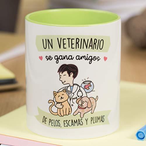 La Mente es Maravillosa - Taza frase y dibujo divertido (Un veterinario se gana amigos de pelos, escamas y plumas) Regalo Veterinario