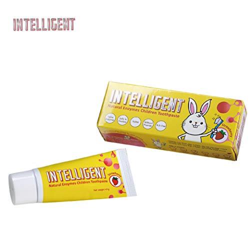 INTELLIGENT Speichelenzyme Baby/Kinder Zahnpasta Ohne Fluorid/Essbar/Entfernen Sie dunkle Flecken,Plaque,Flecken,Zahnstein - Baby/Kinder Natürliche Zahnpasta - 40g Zahnpasta (Erdbeergeschmack) (Natürliche Zahnpasta Baby)