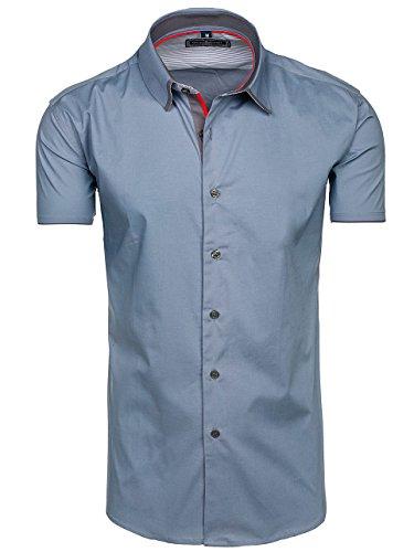 BOLF Herren Freizeithemd Herrenhemd Kurzarm Slim Fit Hemd Klassisch 2B2  Casual Grau 740dd568a2