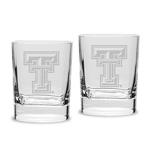 NCAA Texas Tech Red Raiders Luigi Bormioli Square Round Double Old Fashion Glass - Set of 2, Clear, 11.75 oz Square Double Old Fashioned