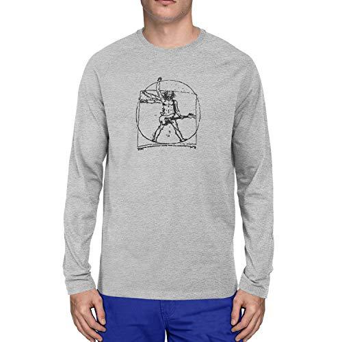 Planet Nerd Da Vinci Rock - Herren Langarm T-Shirt, Größe S, grau meliert - Da Vinci Hochzeit Rock