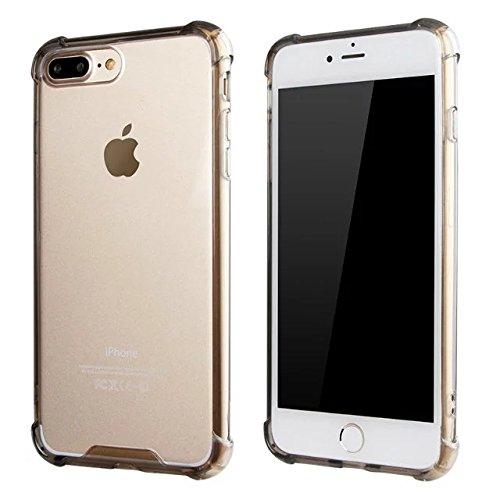 iPhone 8 Plus / 7 Plus Hülle Handyhülle von NICA, Durchsichtiges Slim Silikon Case Transparente Rückseite & Bumper, Crystal Schutz Dünn, Handy-Tasche Back-Cover für Apple iPhone-7+ / 8+ - Transparent Grau