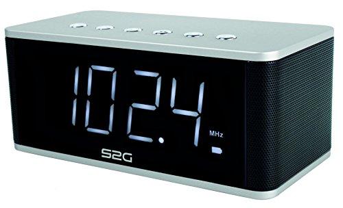 S2G WAKEUP von SOUND2GO - 2x5 Watt Bluetooth Stereo-Lautsprecher, Micro-SD Slot, USB-Player, FM-Radio, Freisprecheinrichtung und Uhr inklusive Weckerfunktion - silber/schwarz