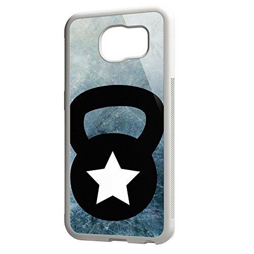Smartcover Case Kettlebell blackwhite z.B. für Iphone 5 / 5S, Iphone 6 / 6S, Samsung S6 und S6 EDGE mit griffigem Gummirand und coolem Print, Smartphone Hülle:Samsung S6 EDGE weiss Samsung S6 EDGE weiss