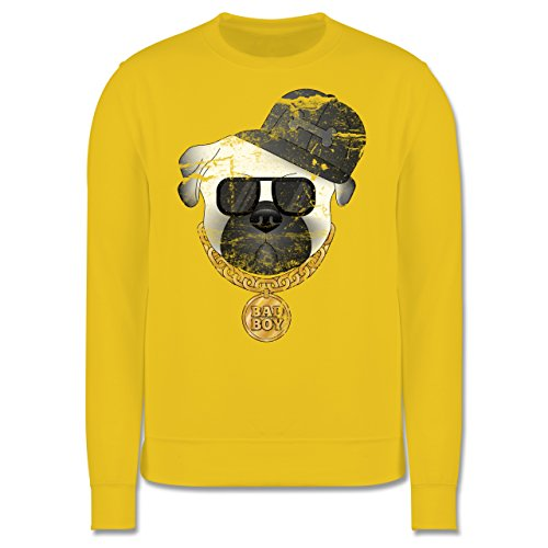 Hunde - Bad Boy Mops Vintage - Herren Premium Pullover Gelb