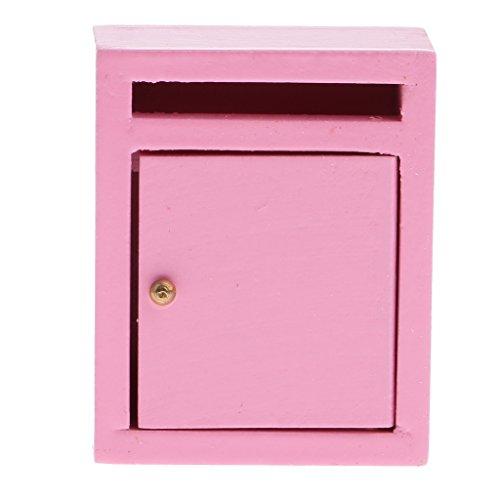 Sharplace 1:12 Puppenhaus Miniatur Holz Mailbox Briefkasten Postfach für Puppen Haus Garten Deko Zubehör - Pink