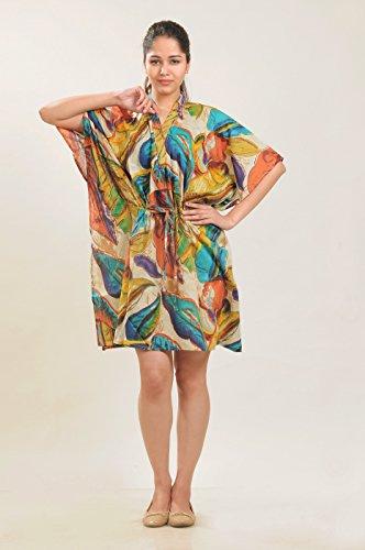 Baumwolle Kaftan Blatt druckt die Sommer Kleid Kurzschluss Kaftan Mehrfarbig (Design # 1)