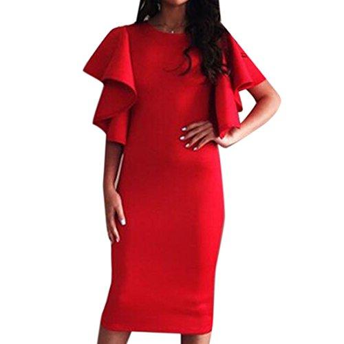 QIYUN.Z Femmes Falbala Mince Manches Courtes Nuit Solide Sur Robe Moulante Robe Crayon Wrap Rouge