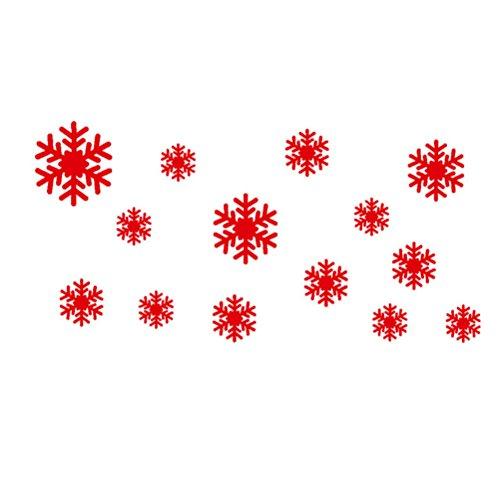 WINOMO SET Adesivi per Natale a forma di fiocchi di neve Adesivo per parete/muro/vetro/vetrina per Natale (rosso)