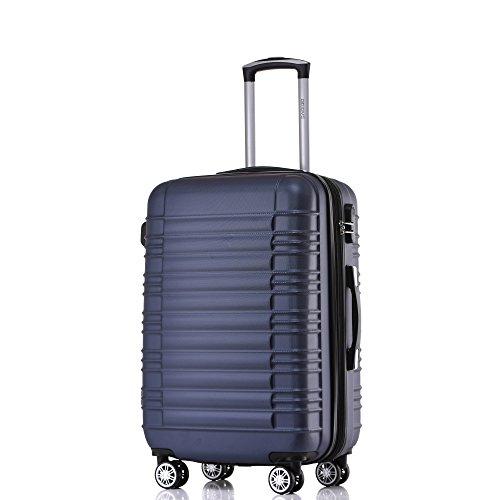 BEIBYE 2088 Zwillingsrollen Reisekoffer Koffer Trolleys Hartschale M-L-XL-Set in 13 Farben (Dunkelblau, XL)