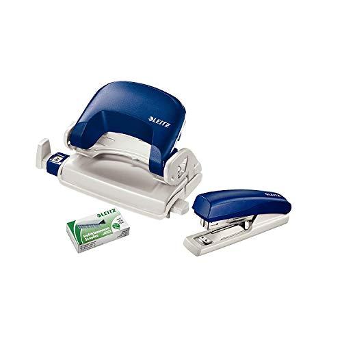 Leitz 55076035 Mini-Heftgerät-und Locher-Set (für bis zu 10 Blatt, Inkl. Heftklammern, NeXXt) blau