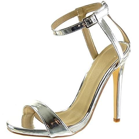 Angkorly - damen Schuhe Sandalen Pumpe - Stiletto - Sexy - schick - String Tanga - glänzende Stiletto high heel 12.5 CM - Silber JM-77 T