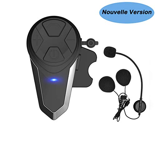Kit Main Libre Moto, Thokwok BT-S3 Intercom Moto Bluetooth Casque Ski Oreillette Bluetooth pour GPS Moto 1000m Interphone sans Fil