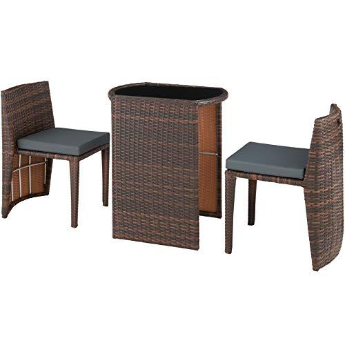 TecTake 800692 Aluminium Polyrattan Bistro Sitzgruppe, platzsparend zusammenschiebbar, wetterfest, inkl. Kissen - Diverse Farben (Schwarz-Braun | Nr. 403143)
