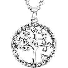 8b1dd639f800 KSQS 925 Plata esterlina árbol de la Vida 5A Cubic Zirconia Cristales de  Swarovski Colgante Collar