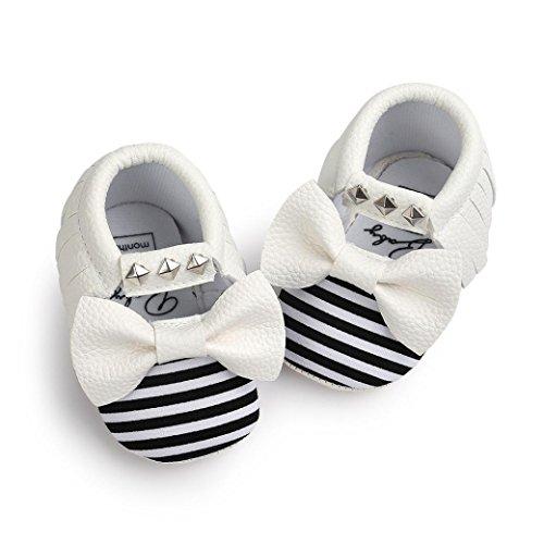 Baby schuhe Jamicy® Baby Bowknot Streifen Niet weiche Sohle Schuhe Kleinkind Turnschuh beiläufige Schuhe (6~12 Monat, Blau) Weiß