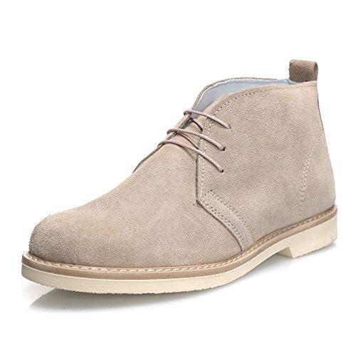 Mforshop scarpe uomo scarponcino camoscio para shoes polacchino vera pelle 1312 (45, beige para bianco)