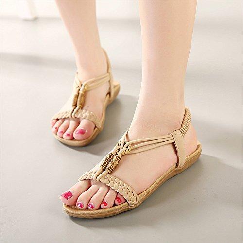 Fortuning's JDS sandali cinghia vestito piatto nuove signore comodi alla moda ' albicocca