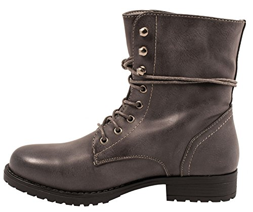 Elara Damen Stiefelette | Bequeme Schnürer Biker Boots | Lederoptik Profilsohle Grau