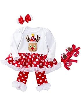 YuanDian Baby Mädchen 4tlg Kleid Weihnachten Bekleidung Set Neugeborenes Outfit Kleinkind Weihnachtskostüm Strampler...