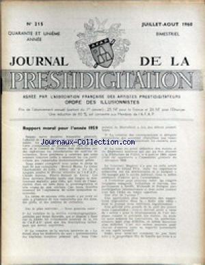 JOURNAL DE LA PRESTIDIGITATION [No 215] du 01/07/1960 - RAPPOR MORAL POUR 59.