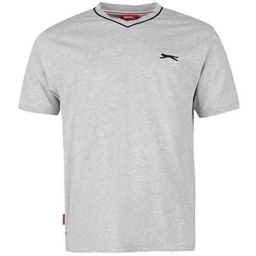 Slazenger Herren V-Ausschnitt T Shirt Kurzarm Tee Top Bekleidung Grau1