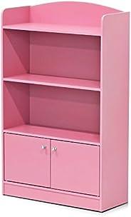 Furinno Lova Bookshelf with Storage Cabinet, Pink