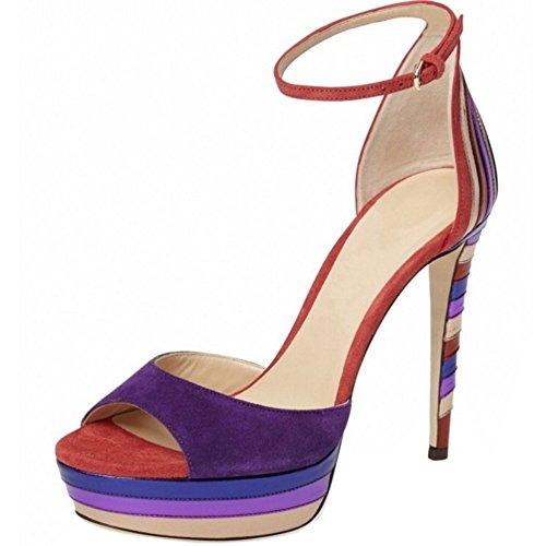 TAOFFEN Damen Mode-Event Party Stiletto Heel Fesselriemen Plateau Sommer Sandalen Violett