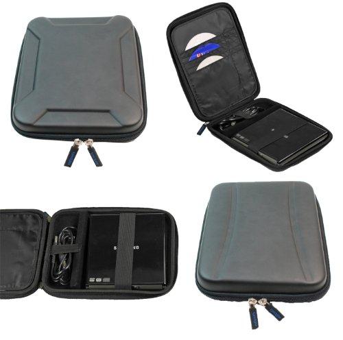 igadgitz Schwarz EVA Reise Hart Tasche für Pioneer BDR-XD05 6x Slim USB Externer BD/DVD/CD Brenner Writer Laufwerk Schutzhülle Case