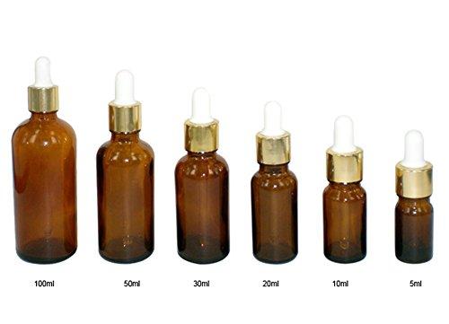 3 Pcs 5 ml/10Ml/20ml/30 m/50ml/100ml Attar Bouteille en verre vides Essence Bouteille d'huile avec verre Eye Dropper Convient pour aromathérapie œil d'oreille Dropper
