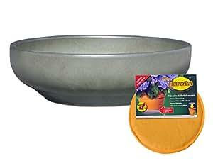 Spar Set: Keramik Pflanzschale Grab-Schale mit Flower-Pad Drainage rund frostfest Ø 55 x 16 cm Farbe tropic grün Form 039.L55.10 mit Boden-Loch