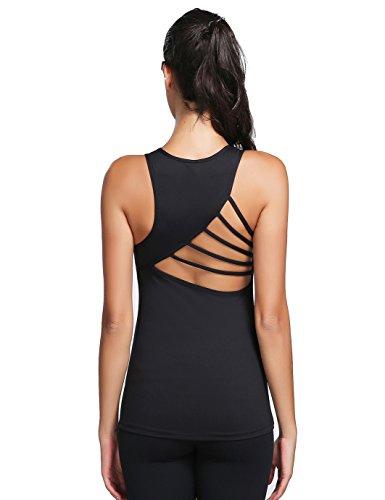 JIMMY DESIGN Damen Sport T Shirt Rundhals Ärmellos Schwarz - L (Quick Dry Shirt Ärmelloses)