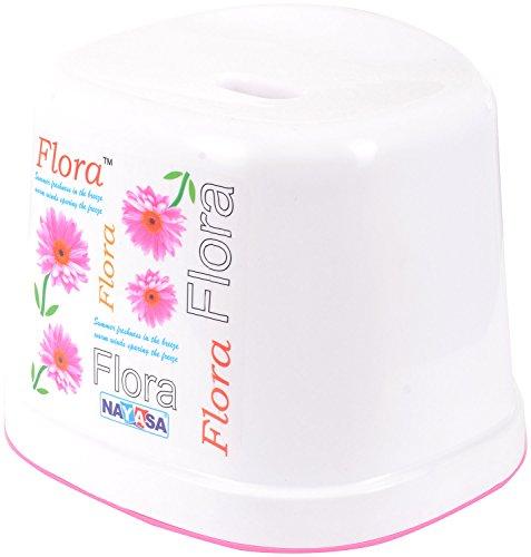 Nayasa Flora Plastic Bath Stool, 20 Cms X 27 Cms X 28 Cms, White & Pink
